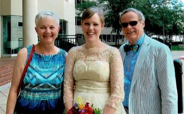 Sally, Nora and John Sullivan on Nora's Wedding day.