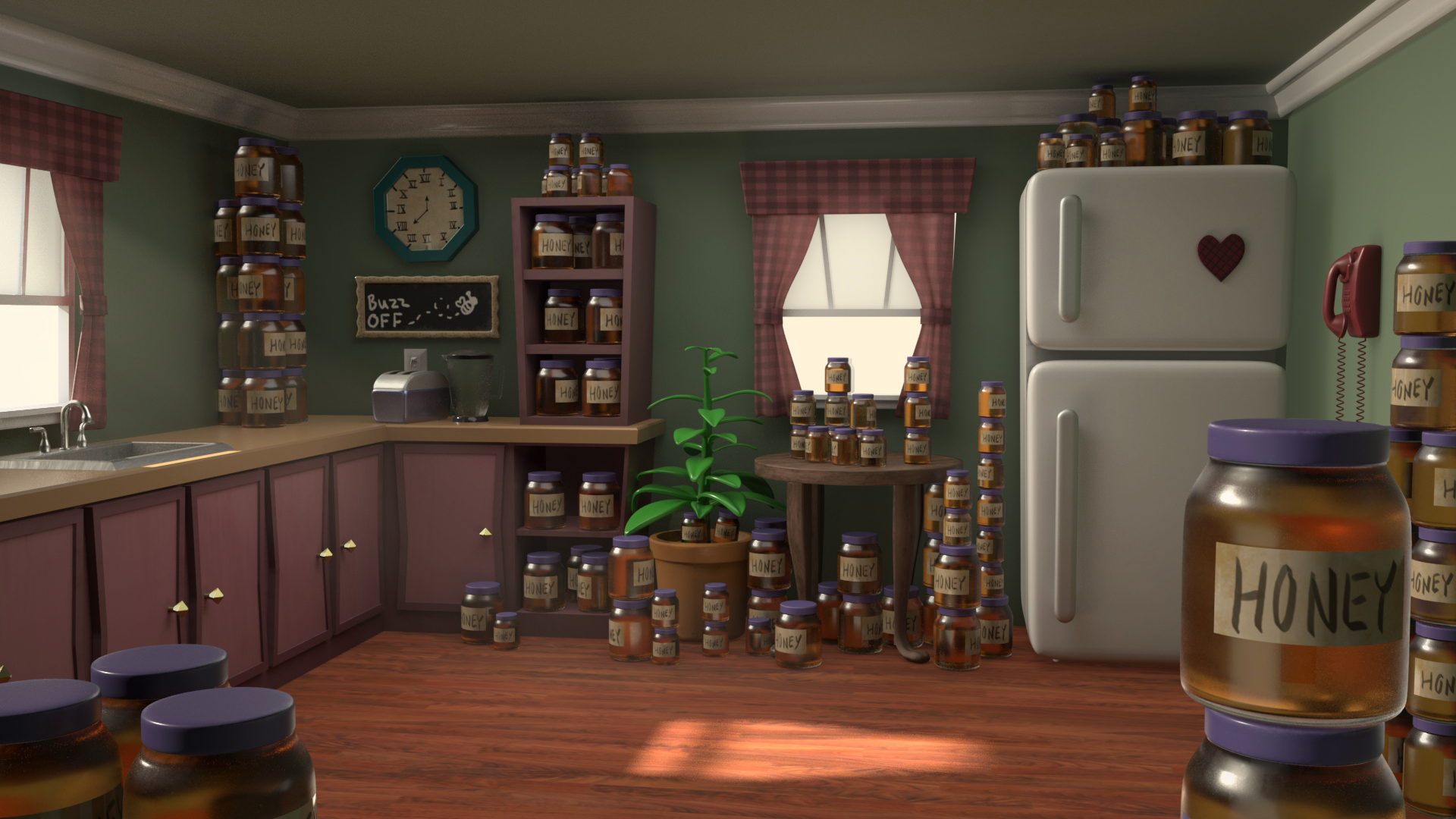 The Neighbor's Kitchen is one of the environments I have been hired as a freelance artist to model and texture for Northlight Production's upcoming animated short 'Cupcake'.