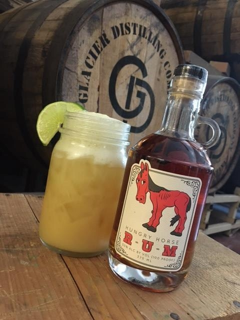 The Swashbuckler - In a mason jar:2 oz. Hungry Horse Rum1 ½ oz. pineapple juiceIceTop with ginger beerGarnish with lime