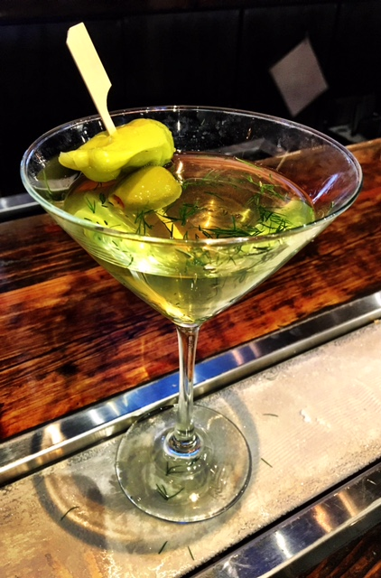 Dirty Kicker - In a shaker:1 1/2 oz. Mule Kick1 oz. dill pickle juice½ oz. olive juice½ oz. pepperoncini juiceSmall handful of fresh dillIceShake and strain into martini glass with dry vermouth rinseGarnish with bleu cheese stuffed olives and pepperoncini