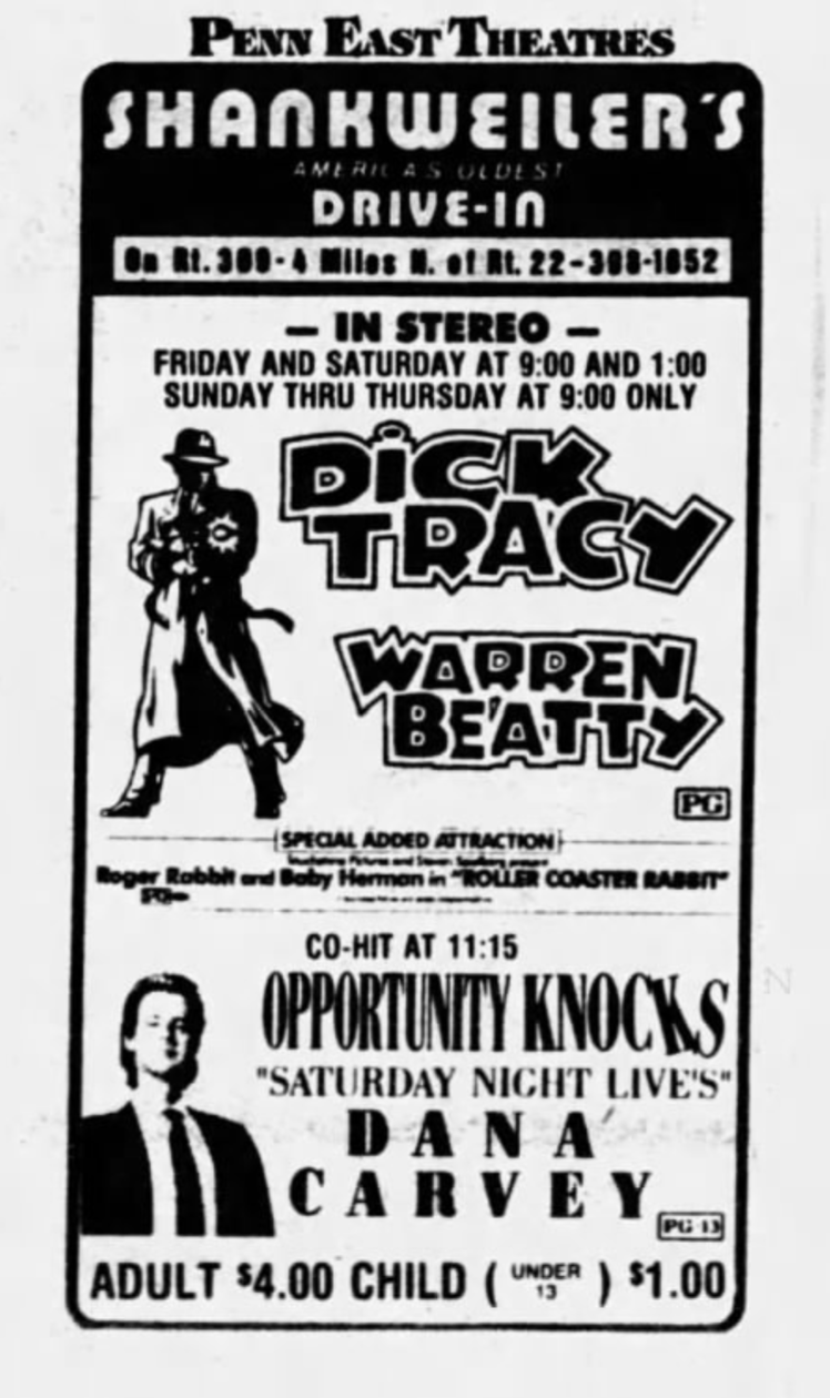 This is the ad from the first run at my local drive-in theater.