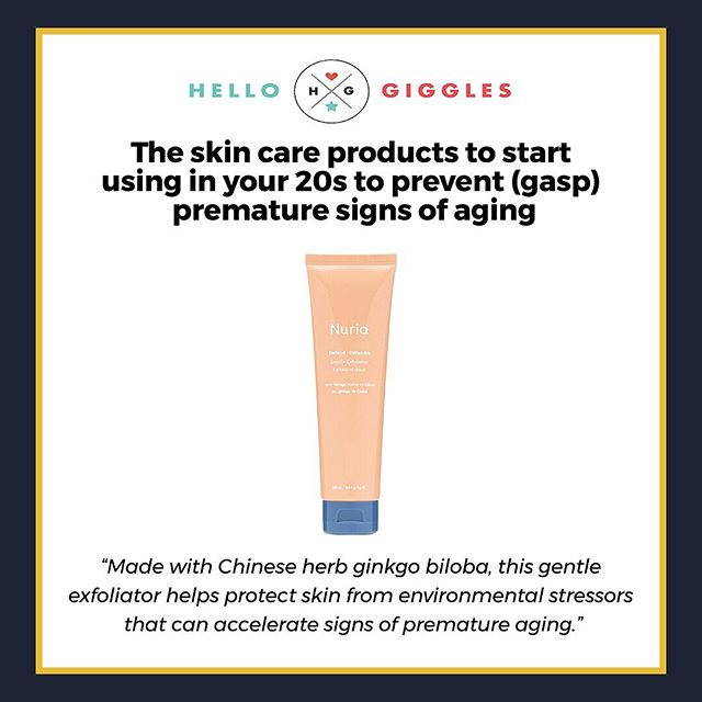 @hellogiggles featured the @nuriabeauty Defend Gentle Exfoliator as a product to prevent premature signs of aging! Thanks for the feature @suziemichael_ #LookFeelBeBright #NuriaBeauty #HelloGiggles