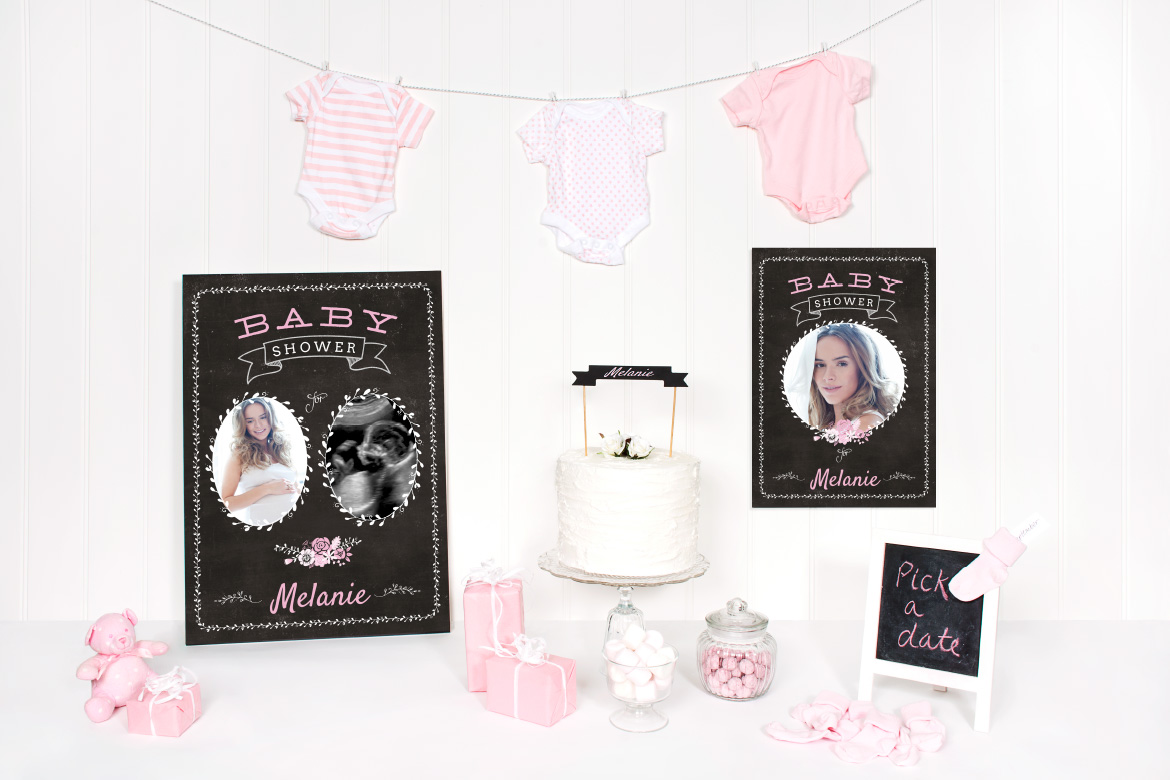 This photo contains our Blackboard Baby Shower theme posters. One with 2 photo spaces and the other with 1. This is also available in blue and yellow and all have matching banners and bunting flags too.