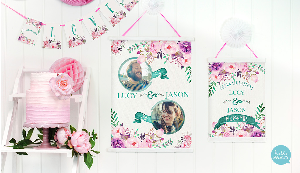 The posters and bunting shown here are from our  Rustic Watercolour - Fresh Collection