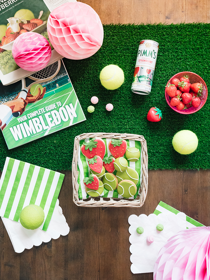 How to make EASY Strawberry & Tennis Ball Biscuits For a Wimbledon Themed Party or sporty celebration