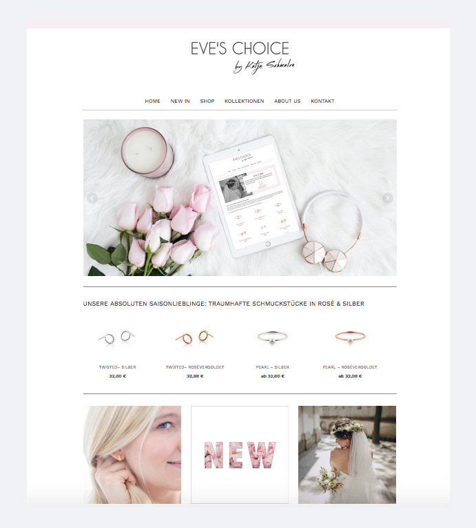 Eve's Choice includes styled images in her website header and customized it to make it her own.
