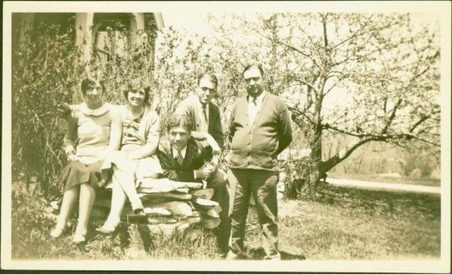 A group shot kept by Dr. Starbuck in a personal photo album shows gay and lesbian couples holding hands outside the Big House, Middlefield, MA, circa 1930. Photo Credit: Sexual Minorities Archives.