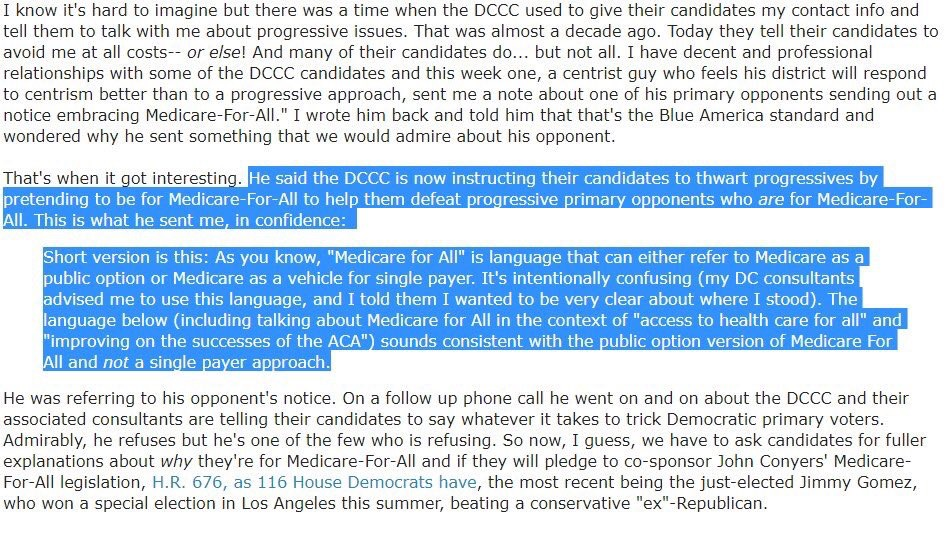 This was written and posted  here  by Blue America, which is a progressive non-profit that supports progressive candidates. It looks like the Democrats haven't learned a lot since Hillary lost to Trump, or for that matter since they've lost over 1000 legislative and executive seats over the last 10 years.