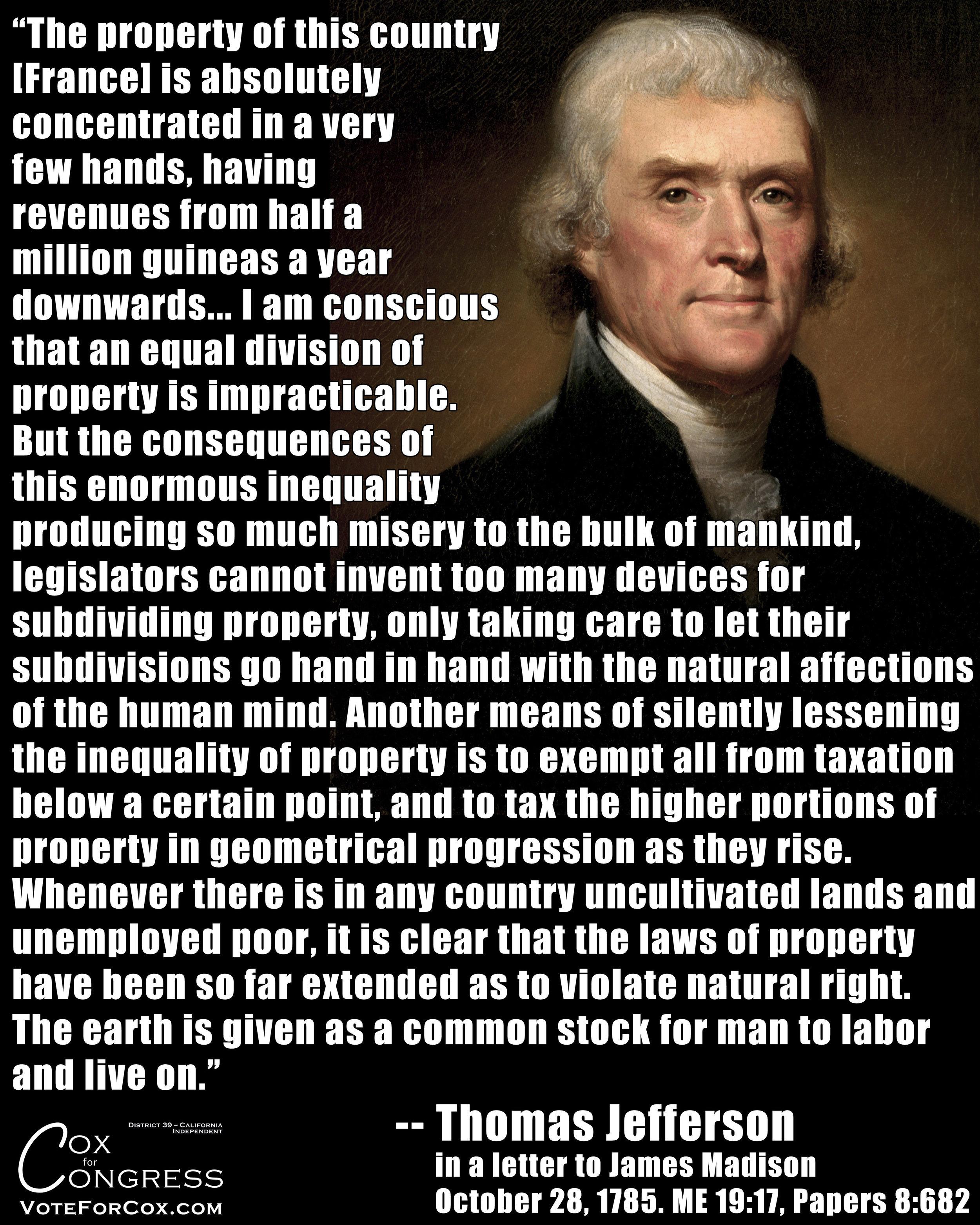 Thomas Jefferson proposing a graduated tax.