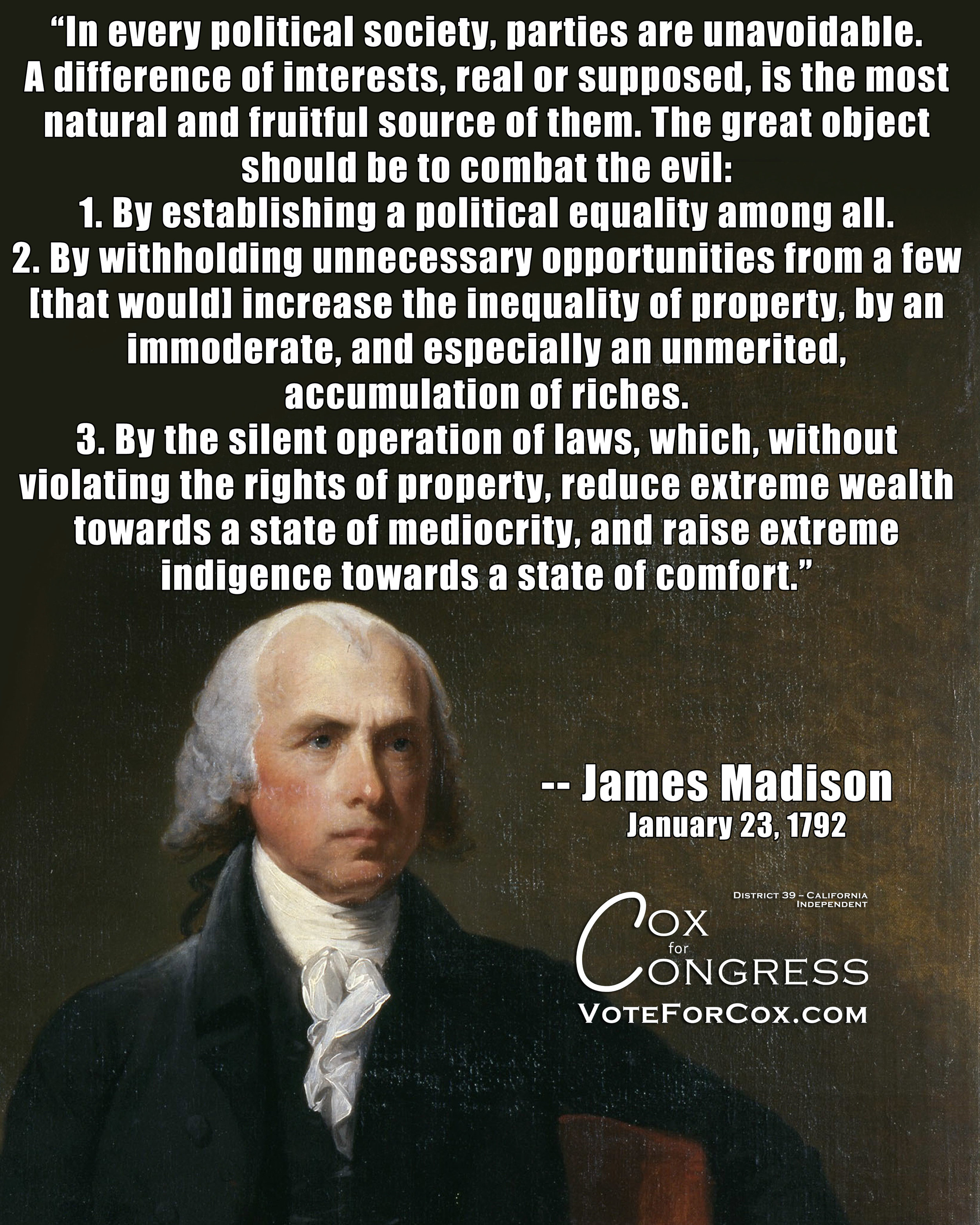 James Madison on the problem with political parties.