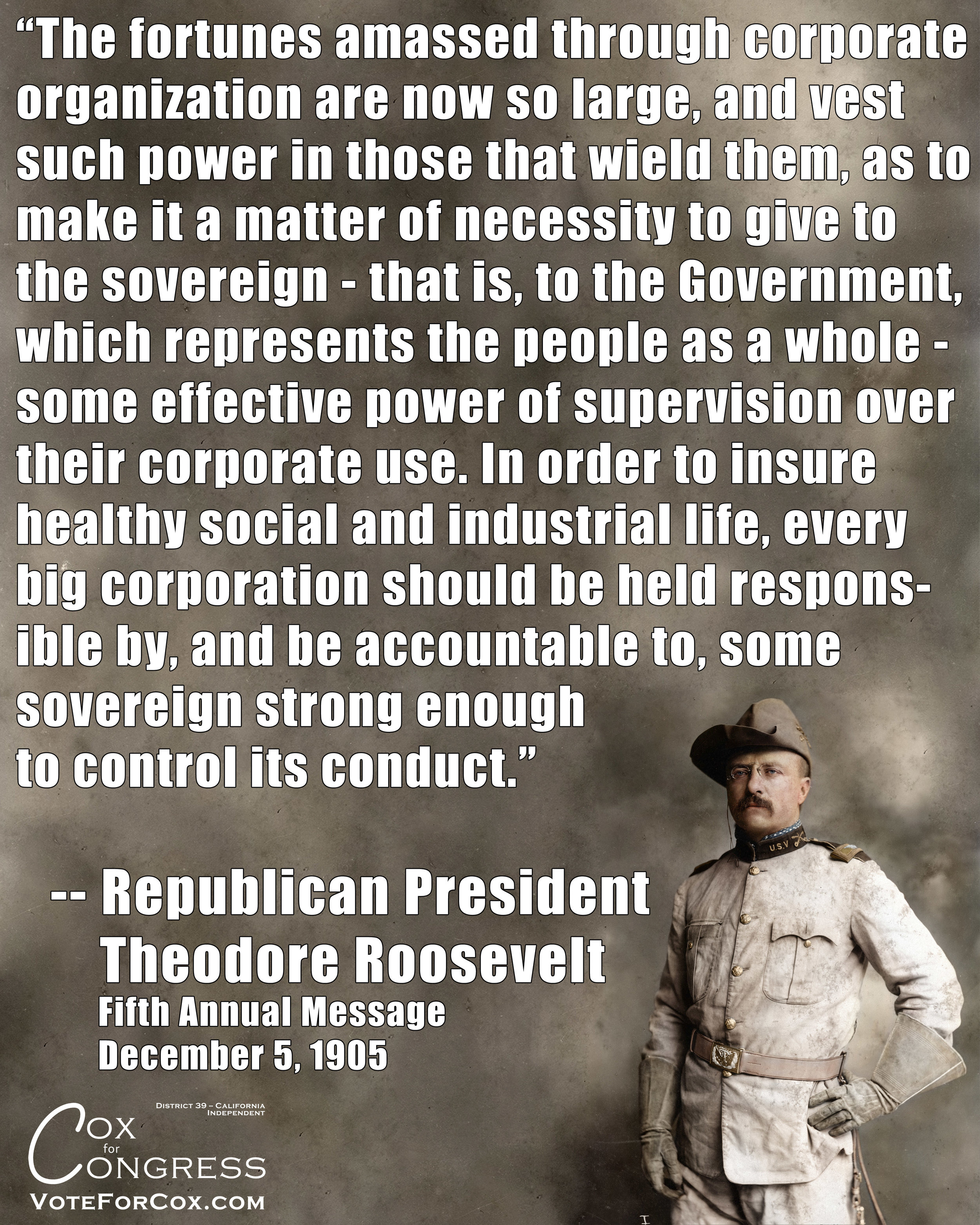 I always feel it's an interesting fact to point out the political parties of historical figures such as Theodore Roosevelt, because it shows how far things have shifted over time. He was a Republican at this time.