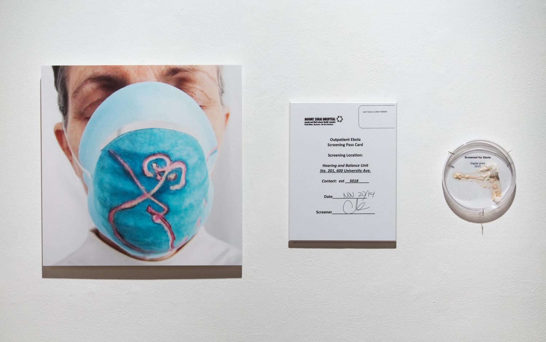 Hospital Ebola screening document & Screened for Ebola document, digital print, agar, halobacteria various sizes 2015