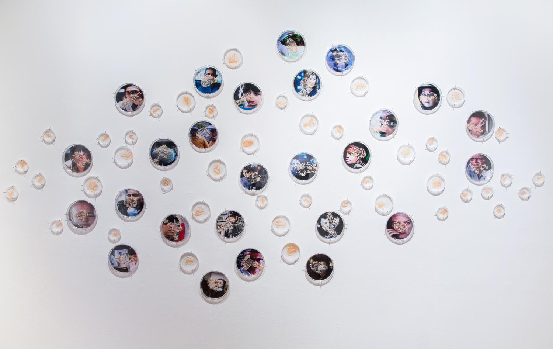 "I Caught it at The Movies Petri dishes, digital images, agar, Halobacterium sp. NRC-1.320""x 48""x 2"" 2013"