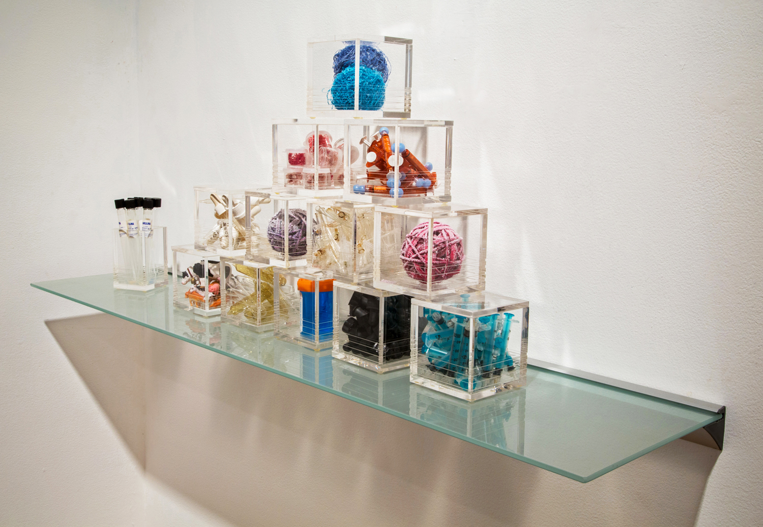 Microbes, Tools and Transmitters      Acrylic boxes with mixed media. Variable sizes 2013