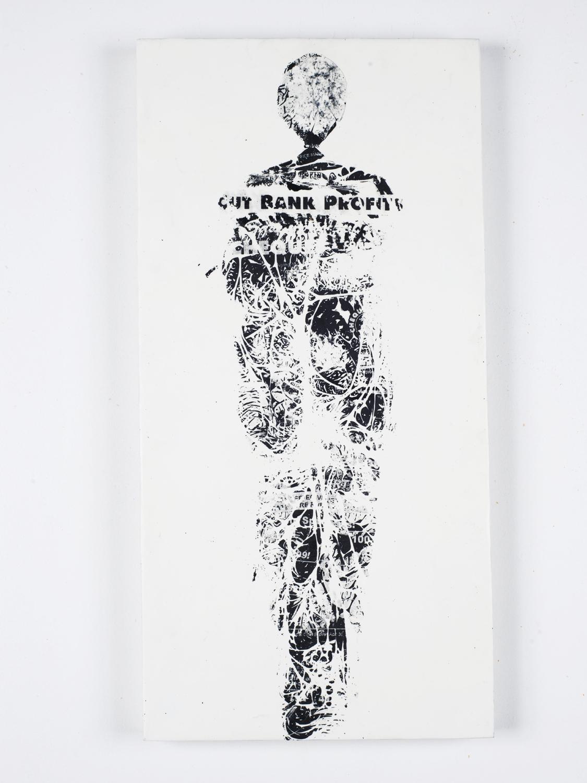 """Cut Bank Profits    Fax carbon, wax 20"""" x 24"""" 2012"""