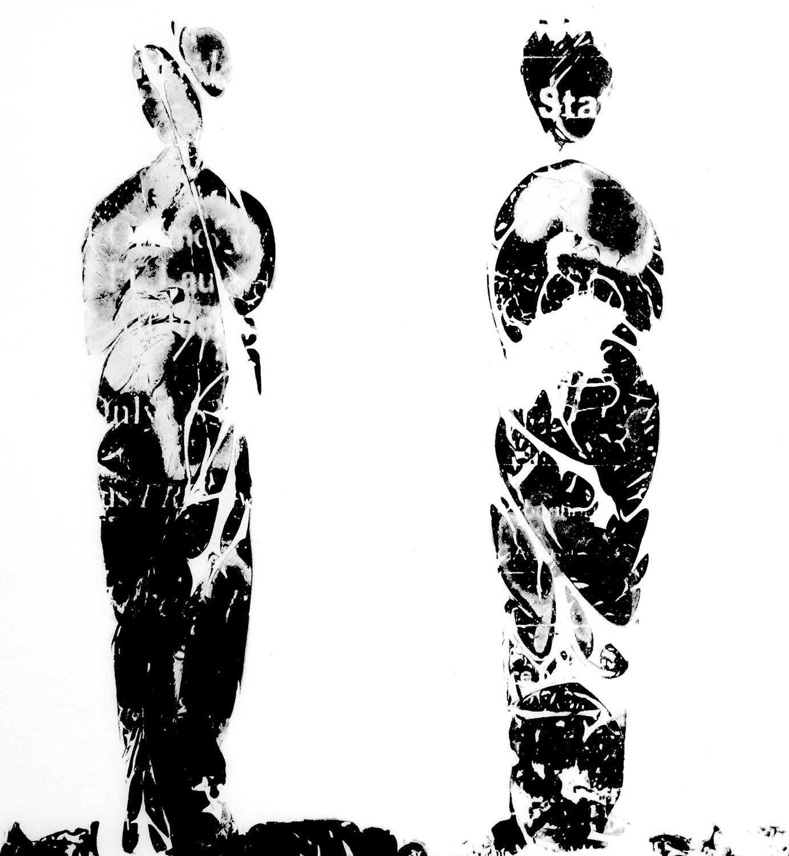 Emerge (detail)    Mylar, fax machine carbon, petri dishes, agar,  Halobacterium sp. NRC-1  6' x 1' 2012
