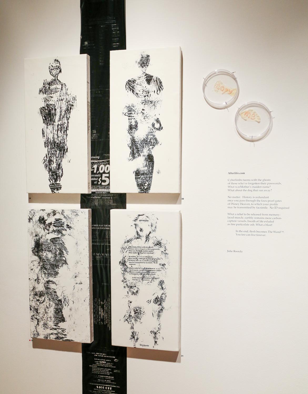 Poems artworks    Fax carbon, wax on board, petri dishes, agar, halobacteria 2012