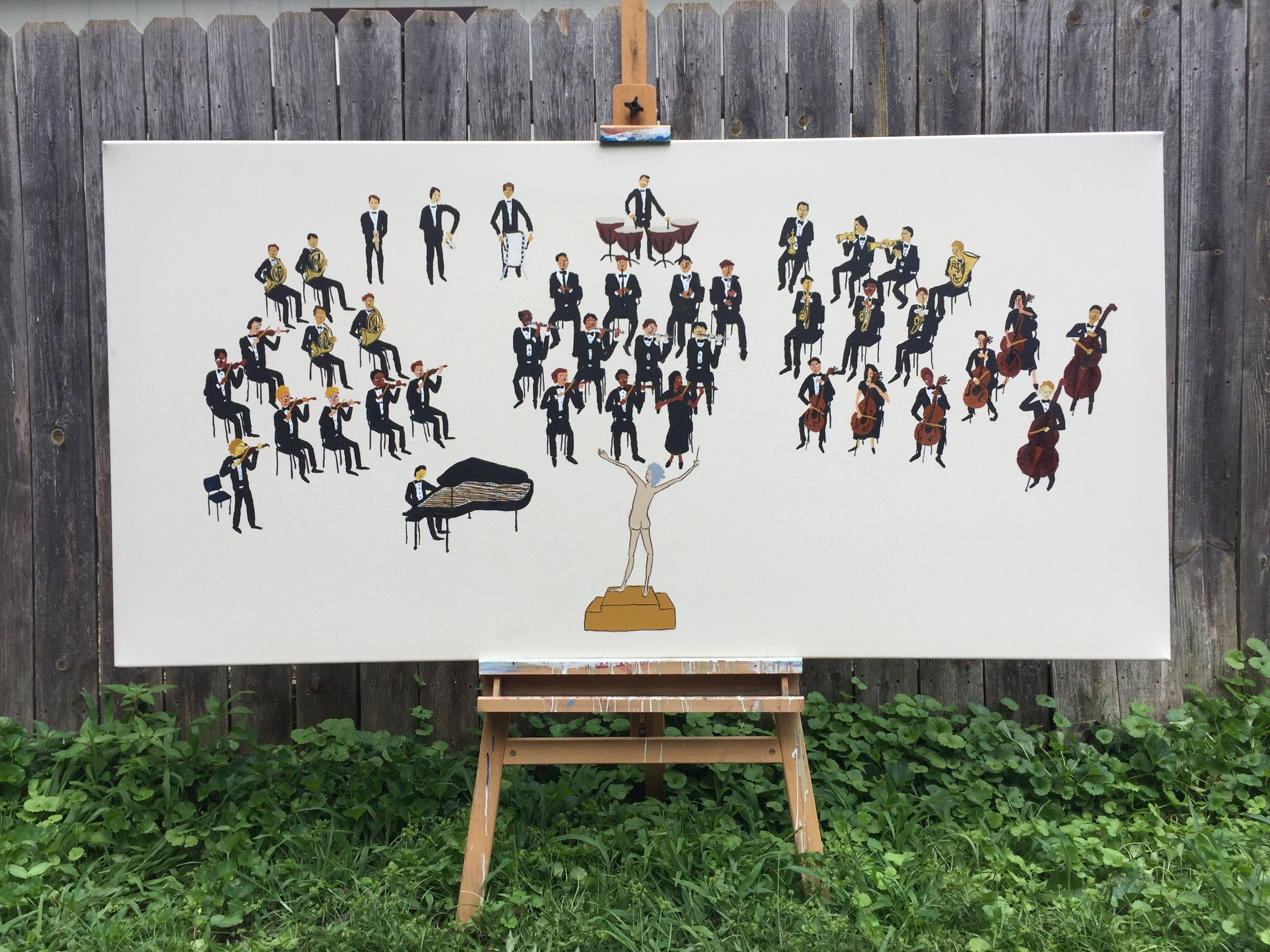 CONDUCTS AN ORCHESTRA