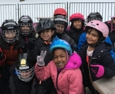 Elementary students enjoy   Skating on Frog Pond     as part of their winter sports program.