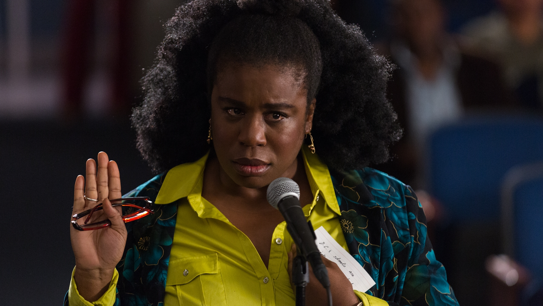 Virginia's (Uzo Aduba) true feelings about failing schools come out when she's told to ask her politician (Aunjanue Ellis) a scripted question.