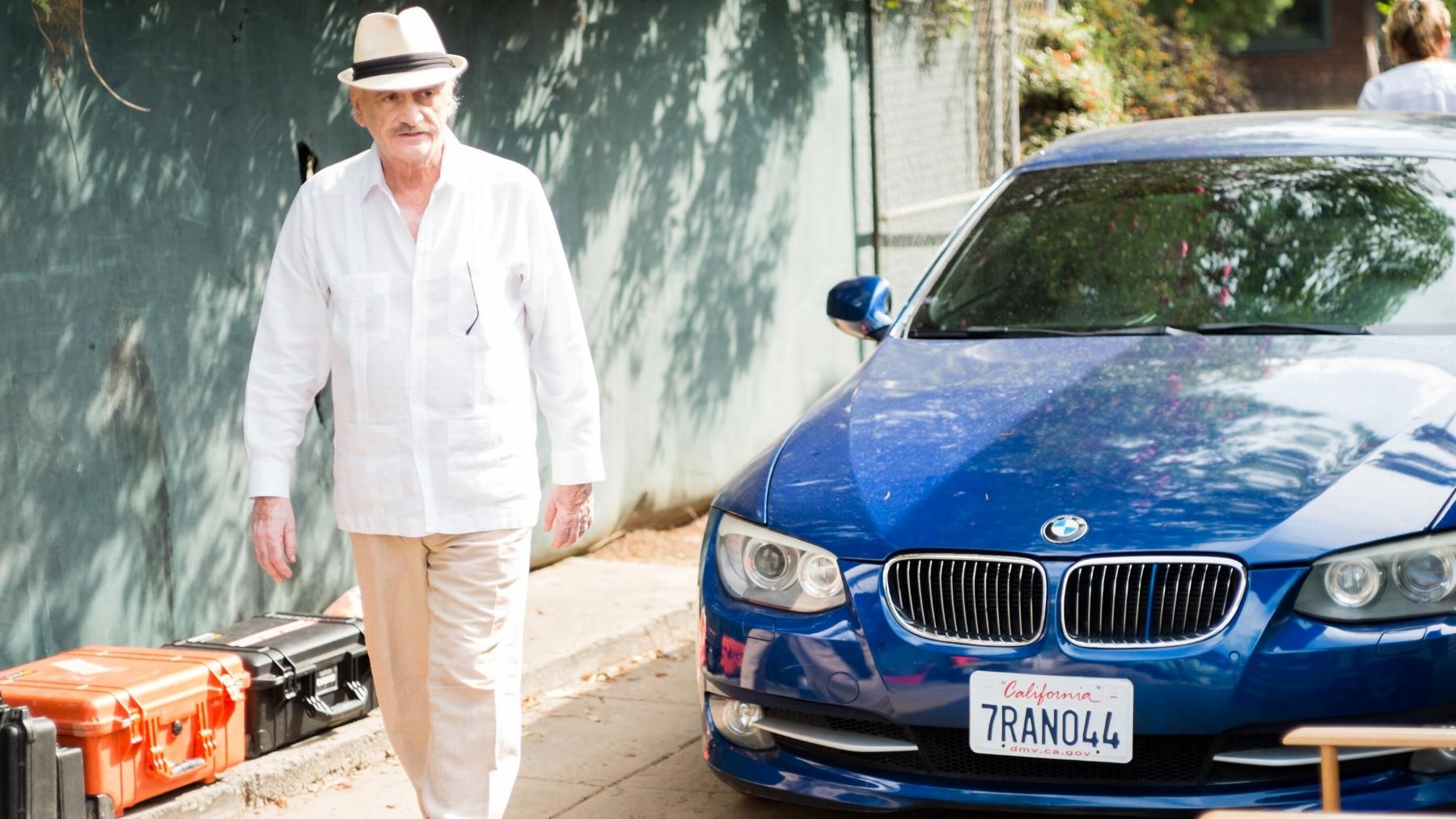 """Actor Ruben Rabasa (""""Abuelo"""") steps on set."""