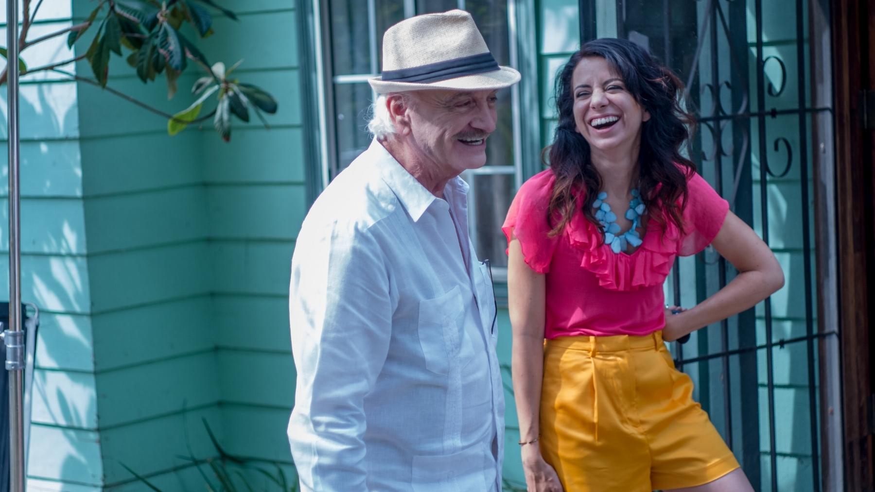 "Actor Ruben Rabaso (""Abuelo"") and Anna Cecilia (""Vanessa"") laugh between takes."