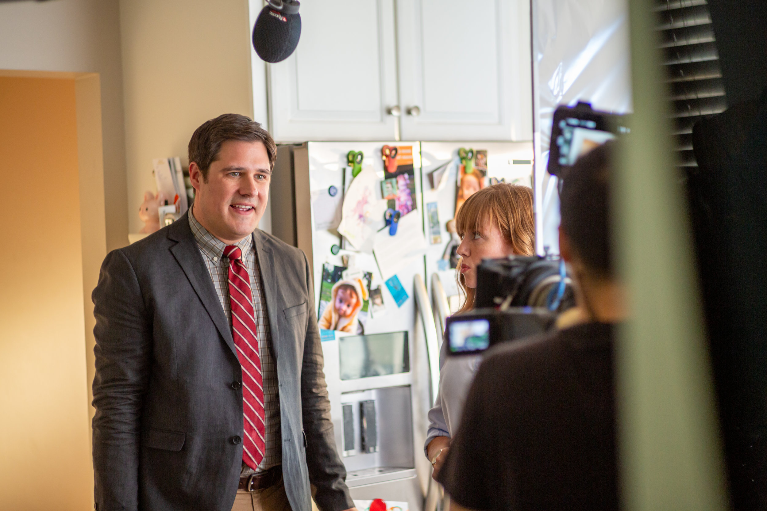 Actor Rich Sommer ( Mad Man ,  GLOW ) performs a scene for the upcoming MPI Original comedy short  A Piece of Cake .