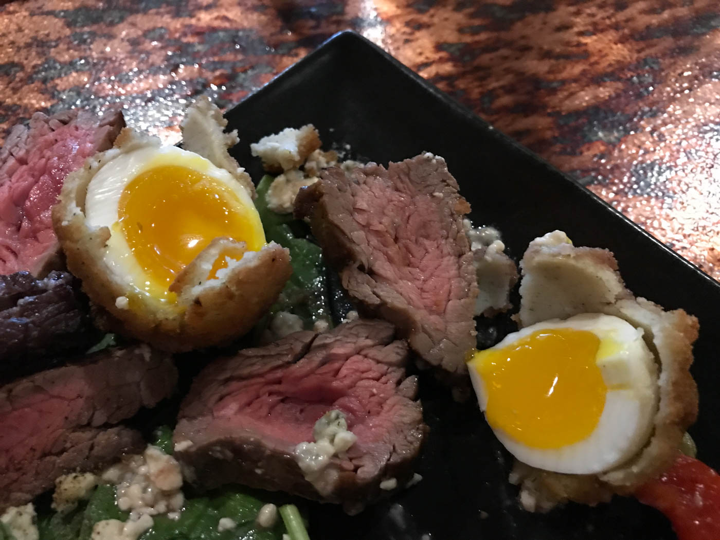 Deep fried egg and steak