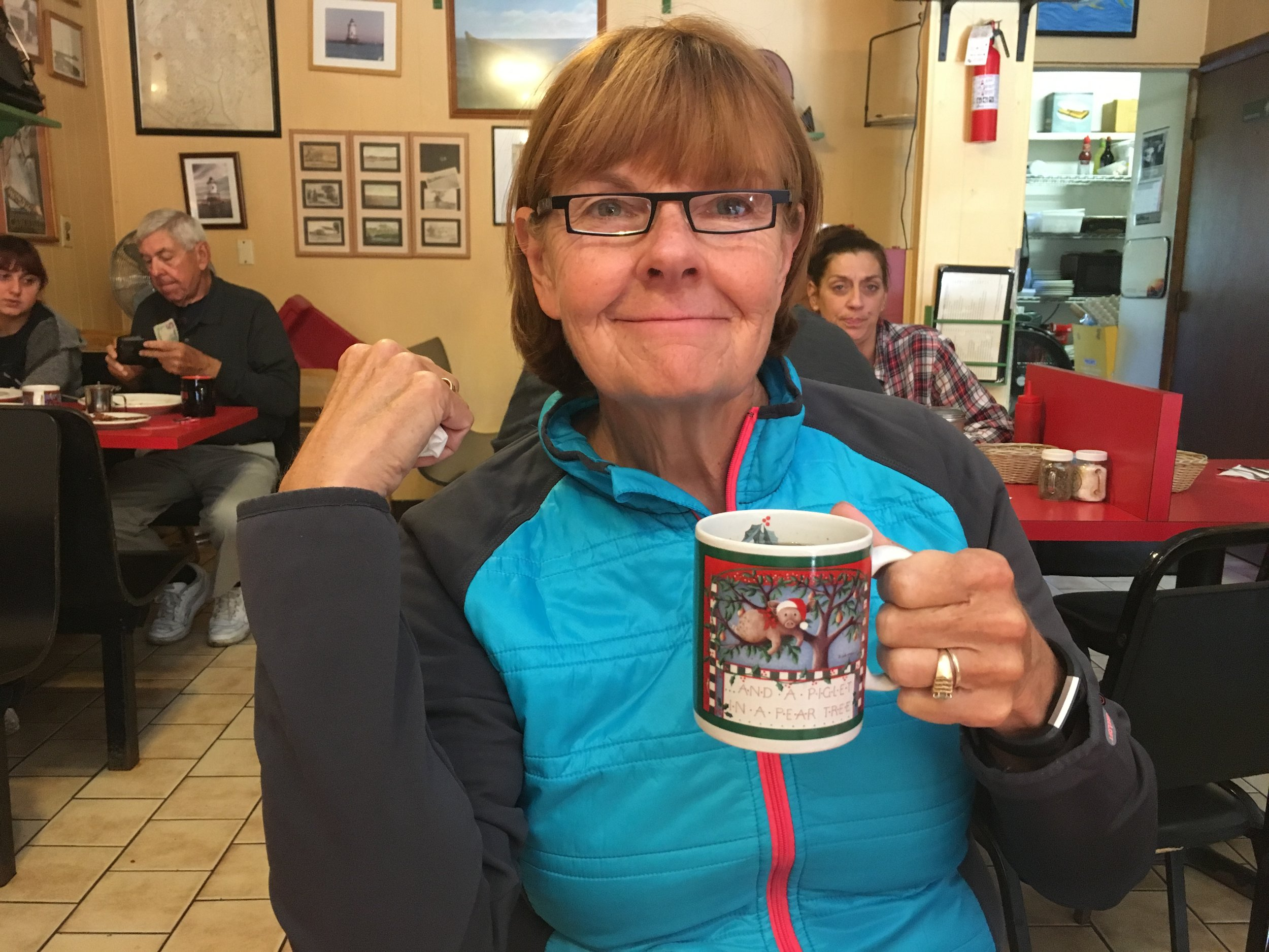 Carol and coffee at the Sunrise Diner