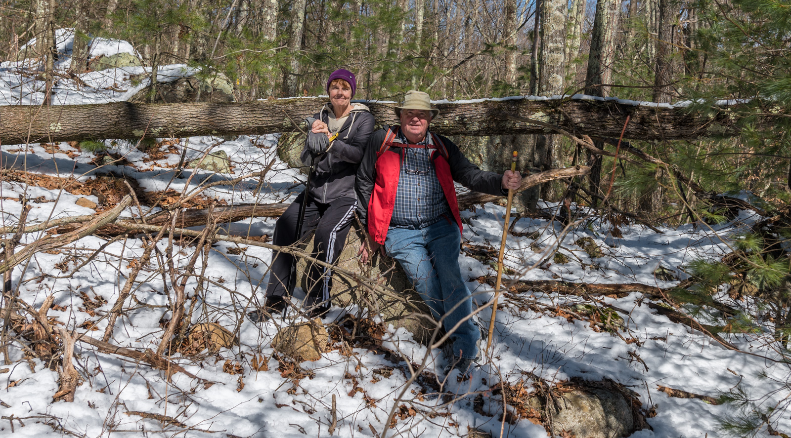 Happy hikers in the Wrentham State Forest