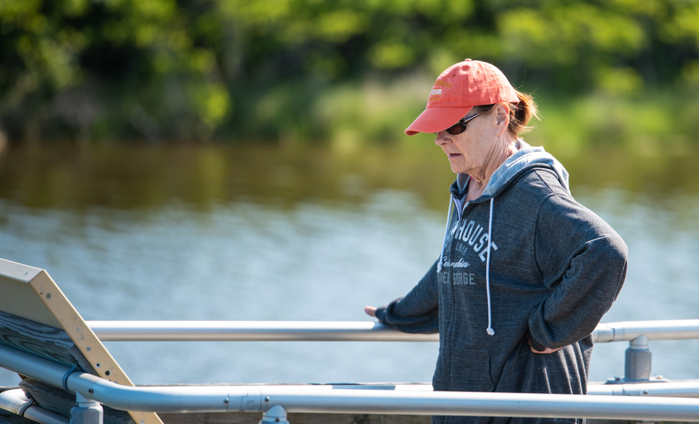 Carol on the marsh boardwalk.