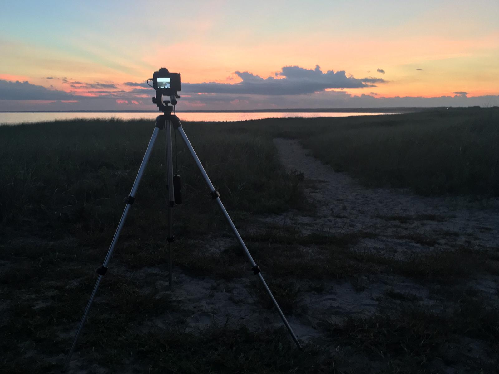 Camera set up to shoot sunset Time lapse