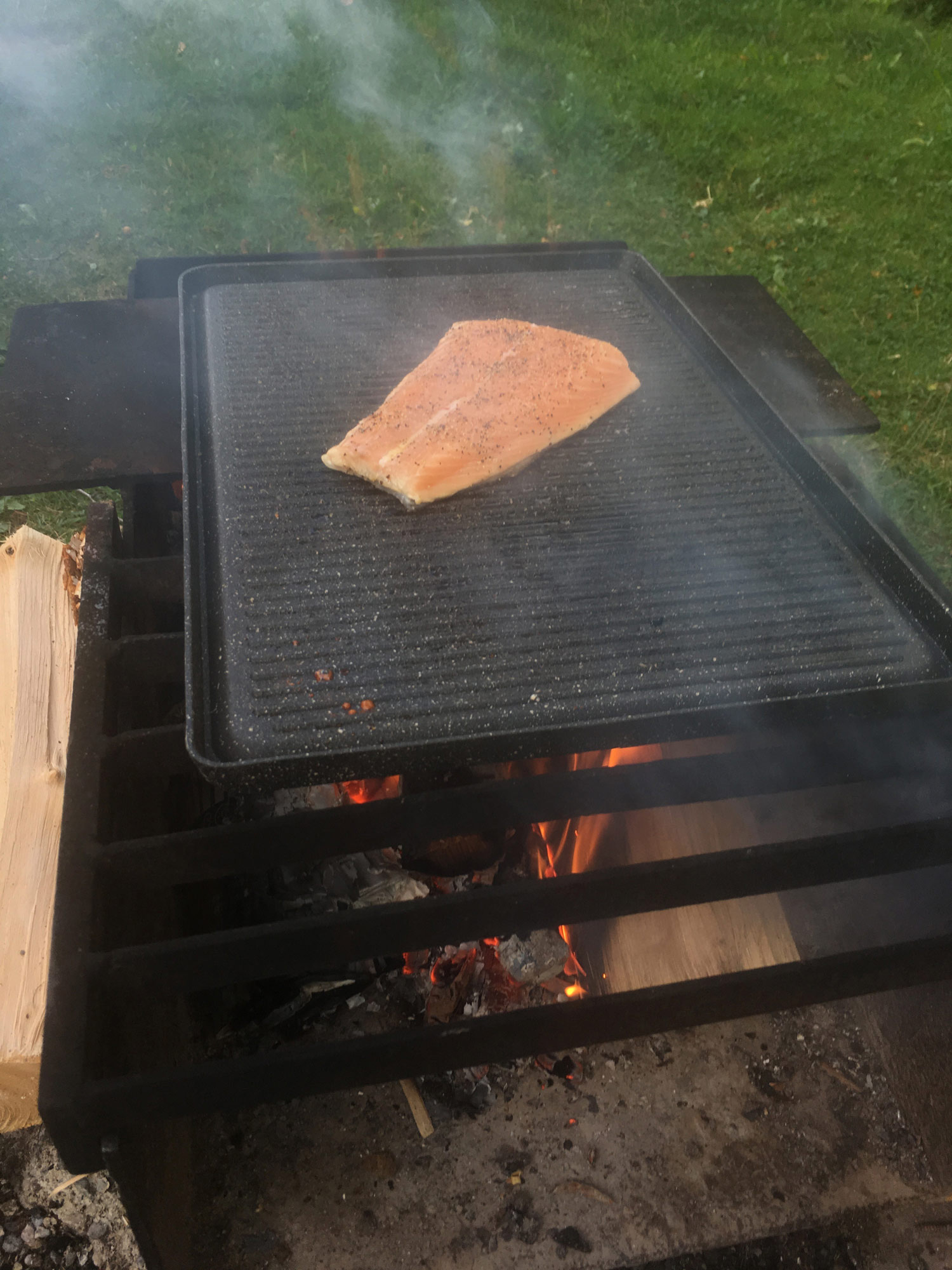 Salmon on the griddle