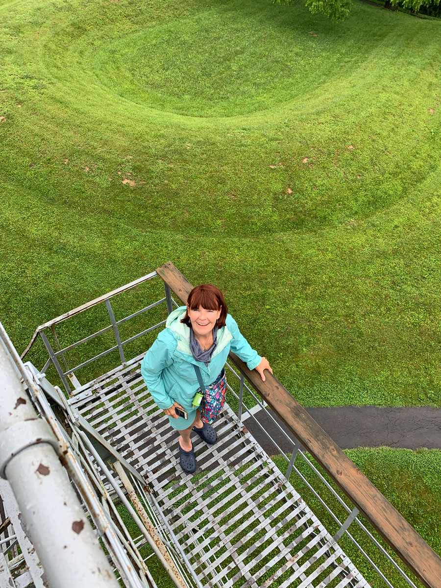 climbing the observation tower at the serpent mound