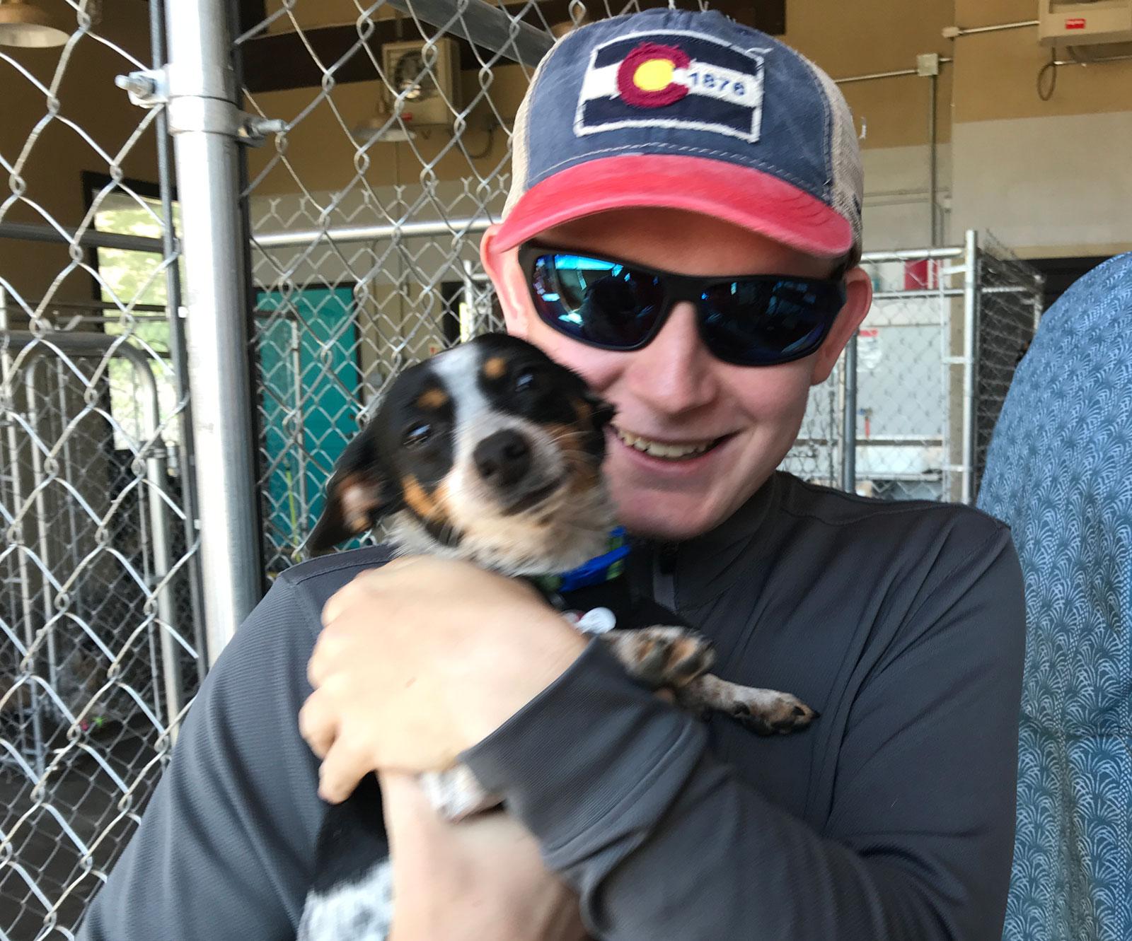 Happy puppy, Harper gets picked up!