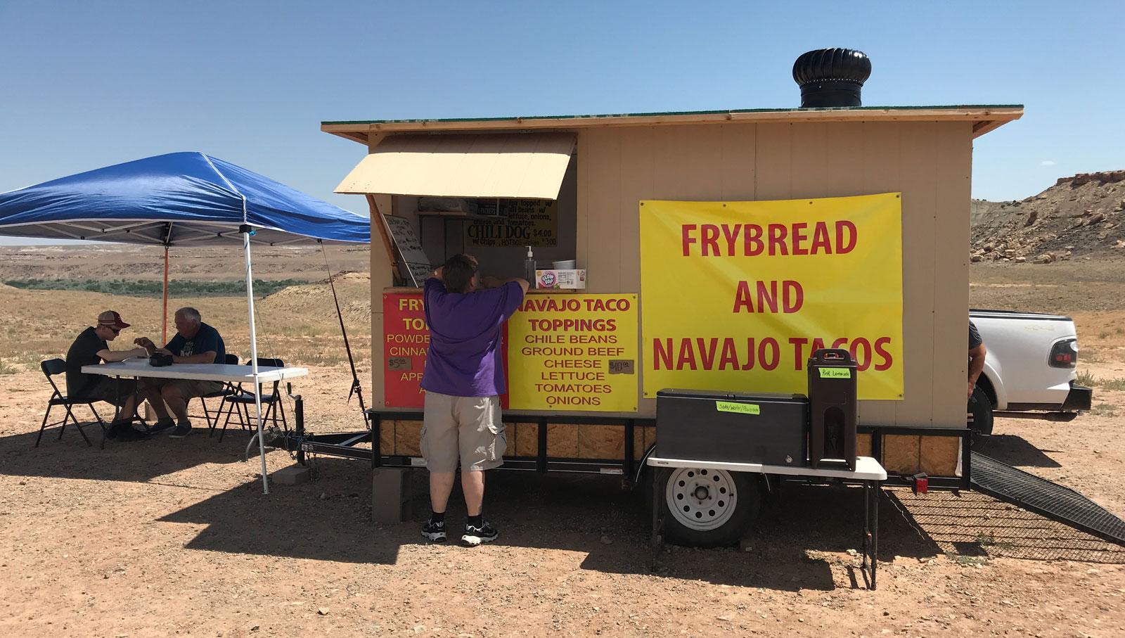 Pappa and Ben eating Navajo Tacos