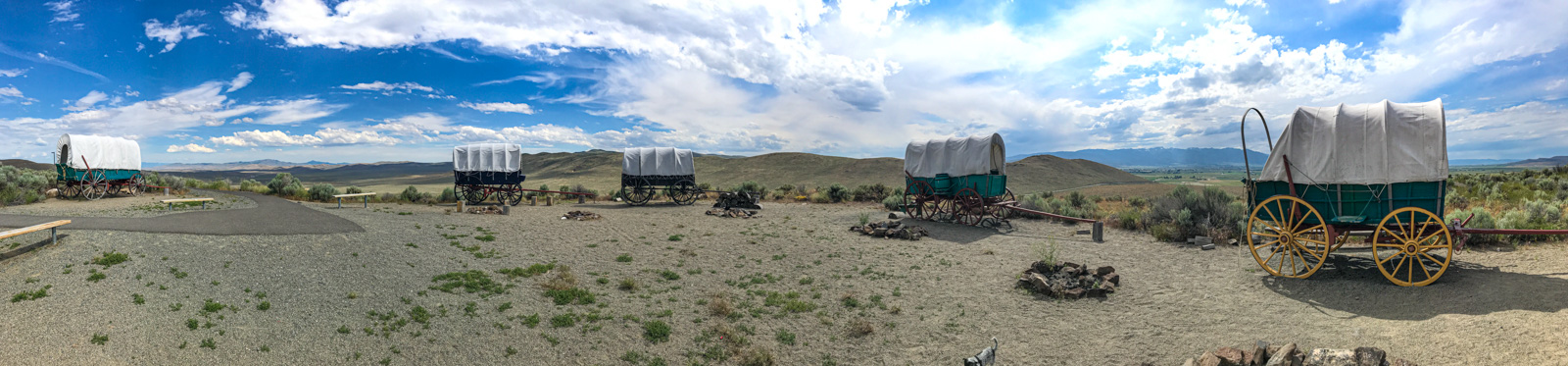 Wagons at the Oregon Trail Historic Site, Baker City