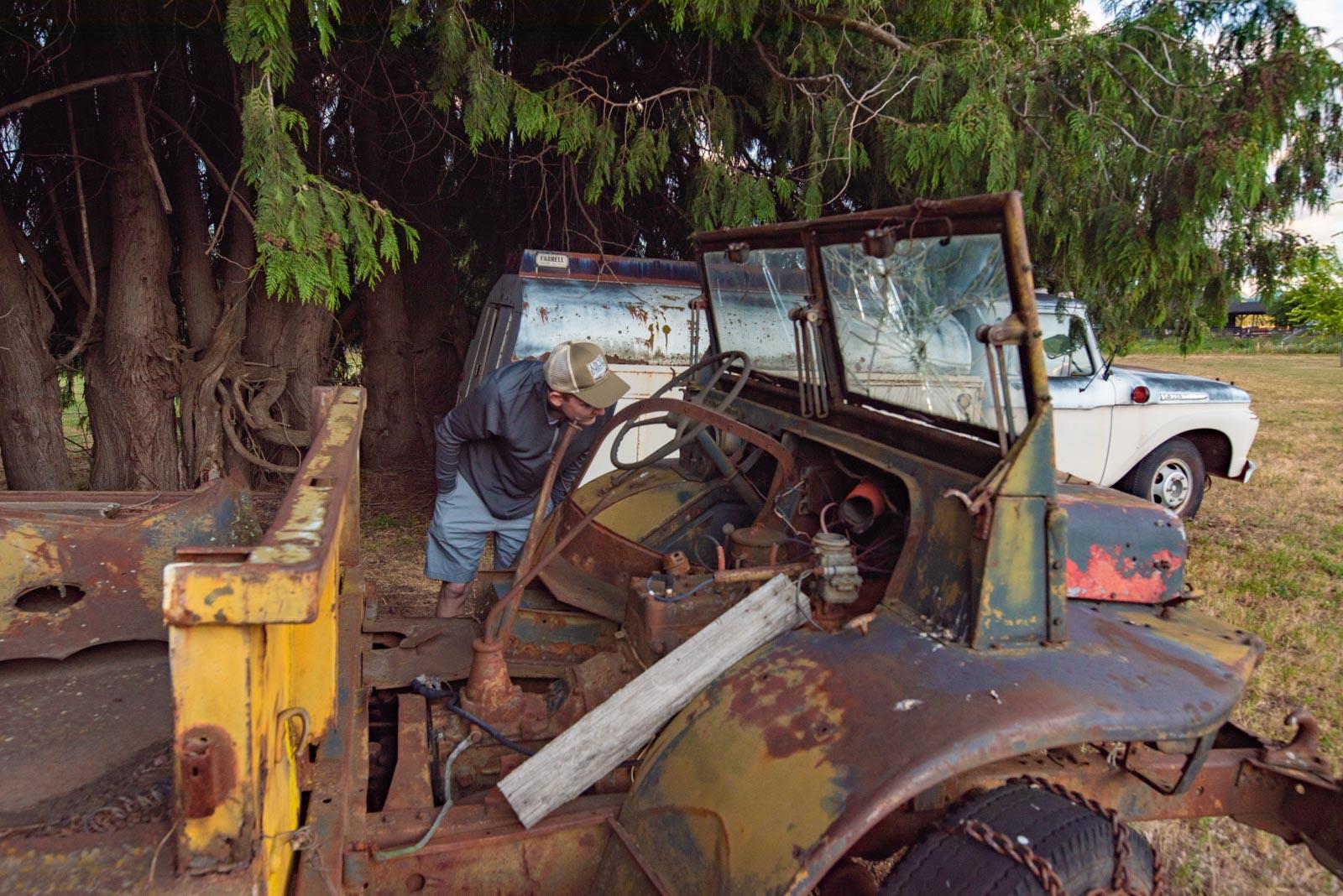 Trucks in the field