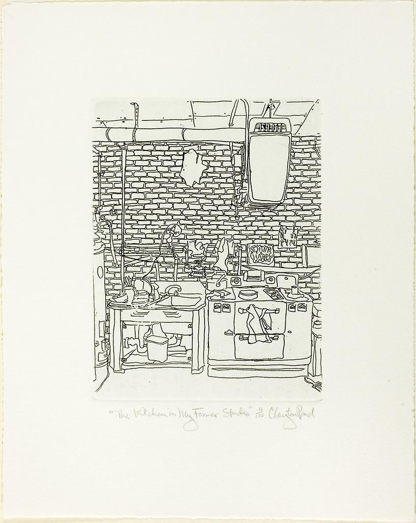 """Pond, Clayton. """"The Kitchen in My Former Studio."""" 1968."""