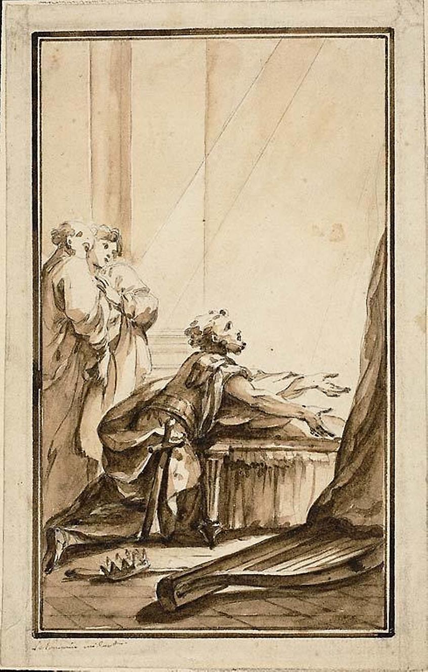 """le Lorraine, Louis Joseph. """"King David Kneeling in Penitence."""""""