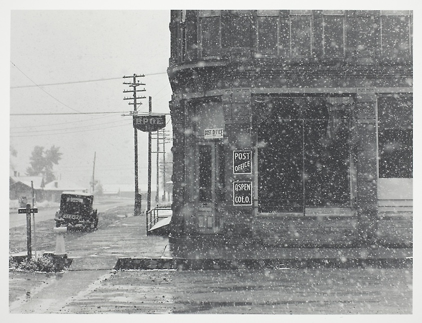 "Wolcott, Marion Post.  ""Post Office in Blizzard, Aspen, Colorado."" 1941."