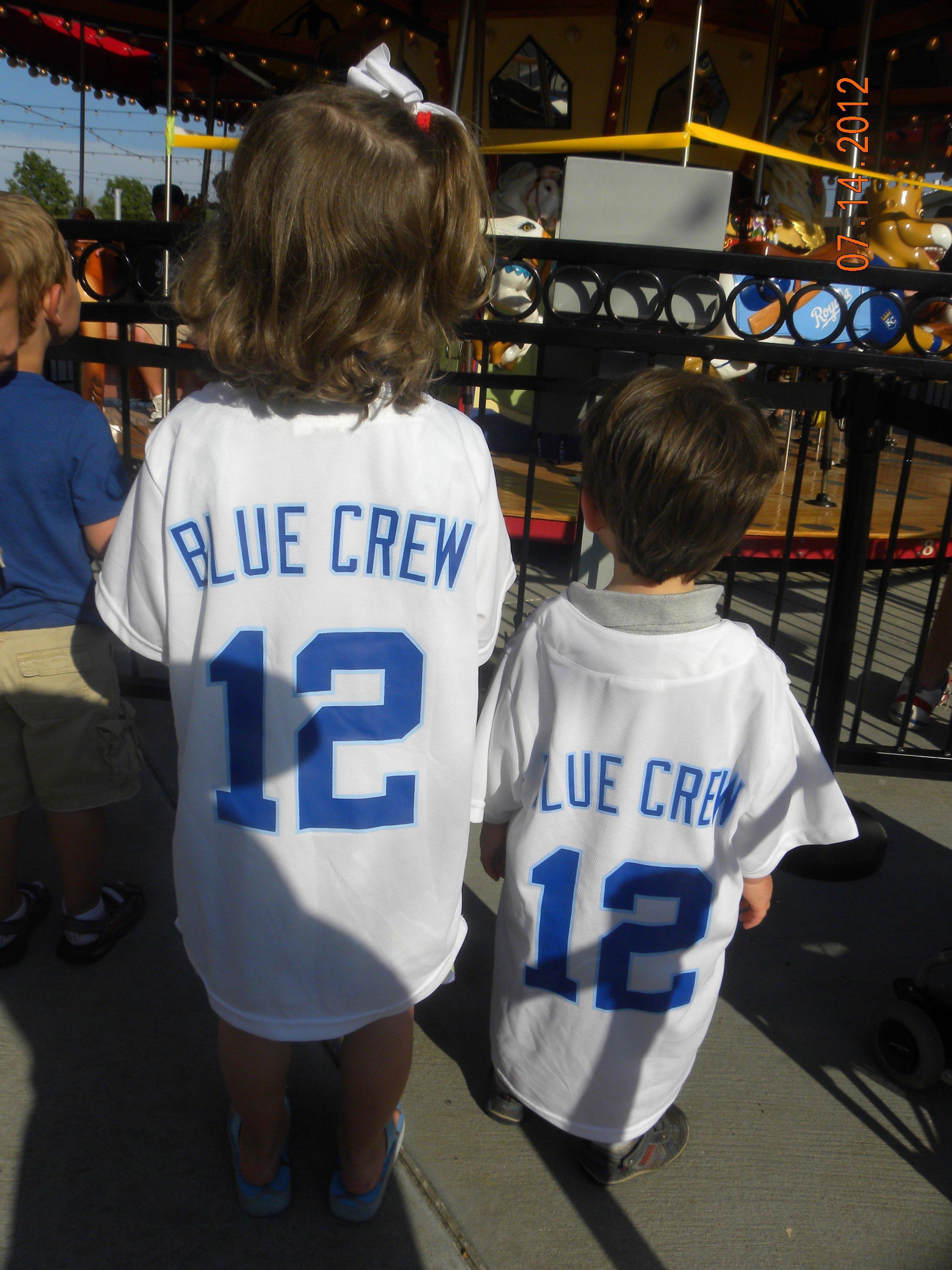 Our children joined the Sluggerrr's Blue Crew in Kansas City.