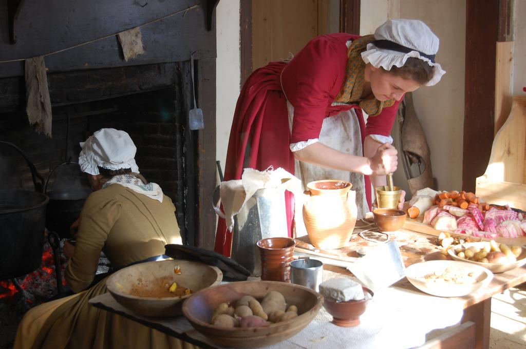Learning how to cook in an 18th century kitchen at Coggeshall Farm Museum.