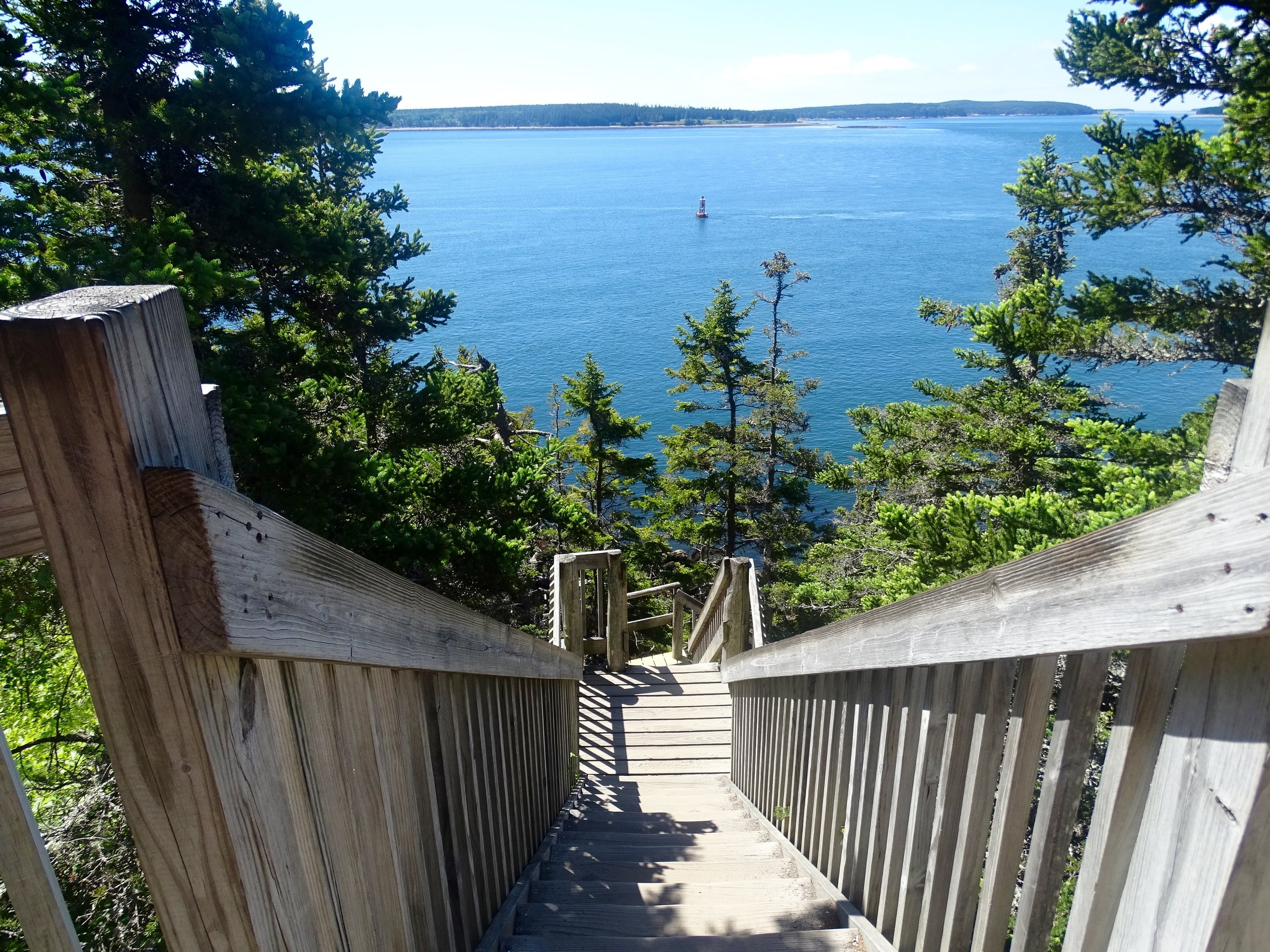 The very steep staircase down to a very rocky path to see the lighthouse. Little ones are better off taking the paved path on the right end of the parking lot.