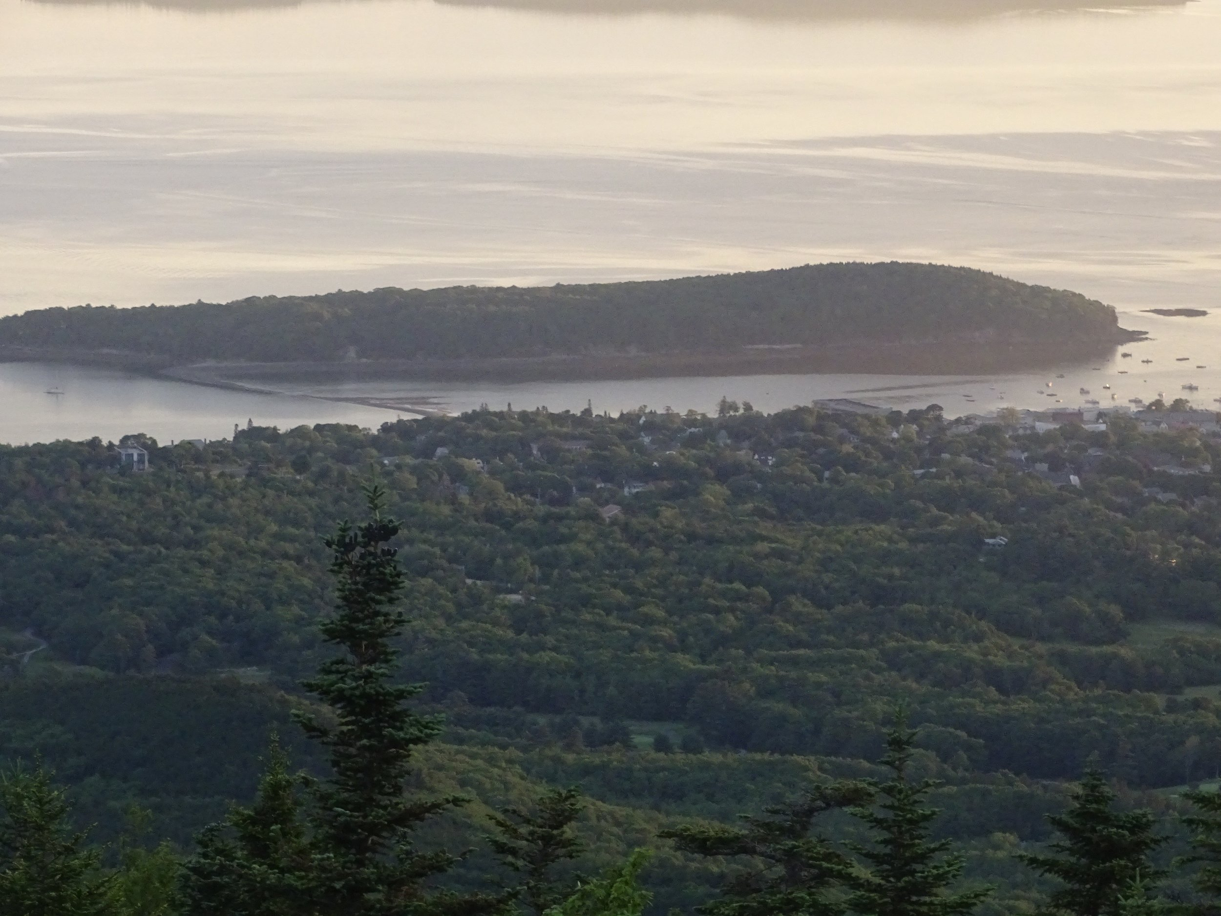 The view of Bar Harbor Island from the top of Cadillac Mountain.