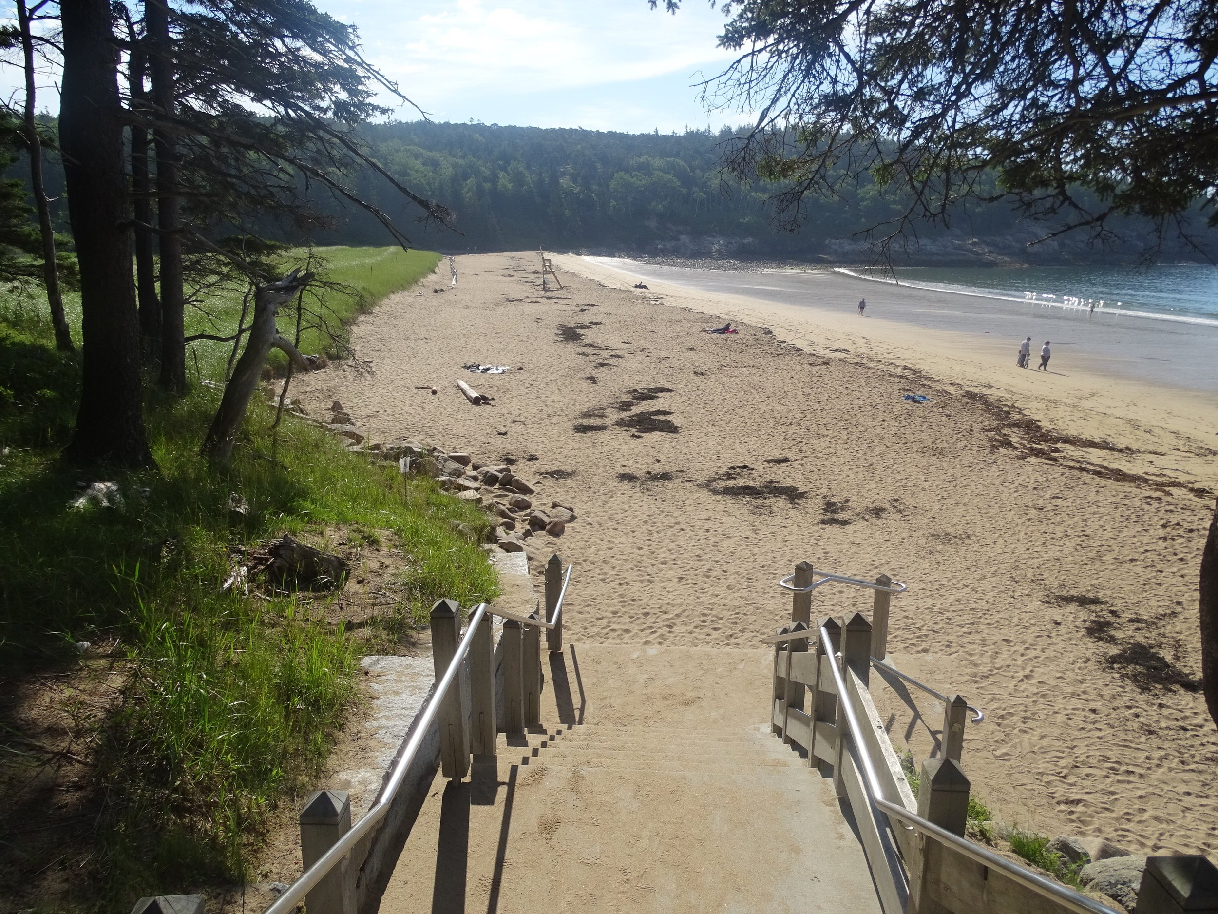 The short staircase down to Sand Beach. Note: We went at low tide, when there is plenty of room to sunbathe.