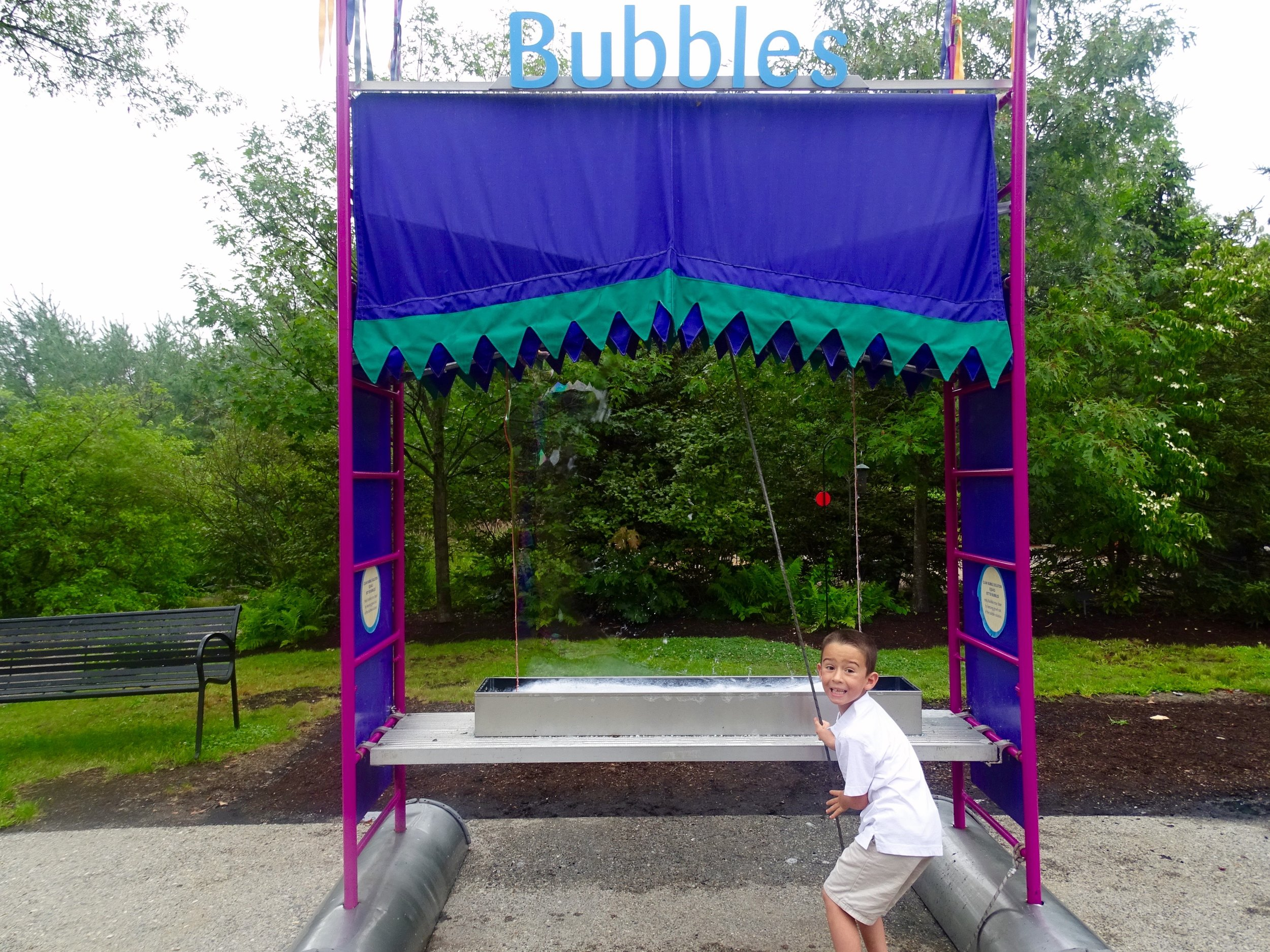 My son was super proud he made a bubble large enough to reach the top of one of the many structure.