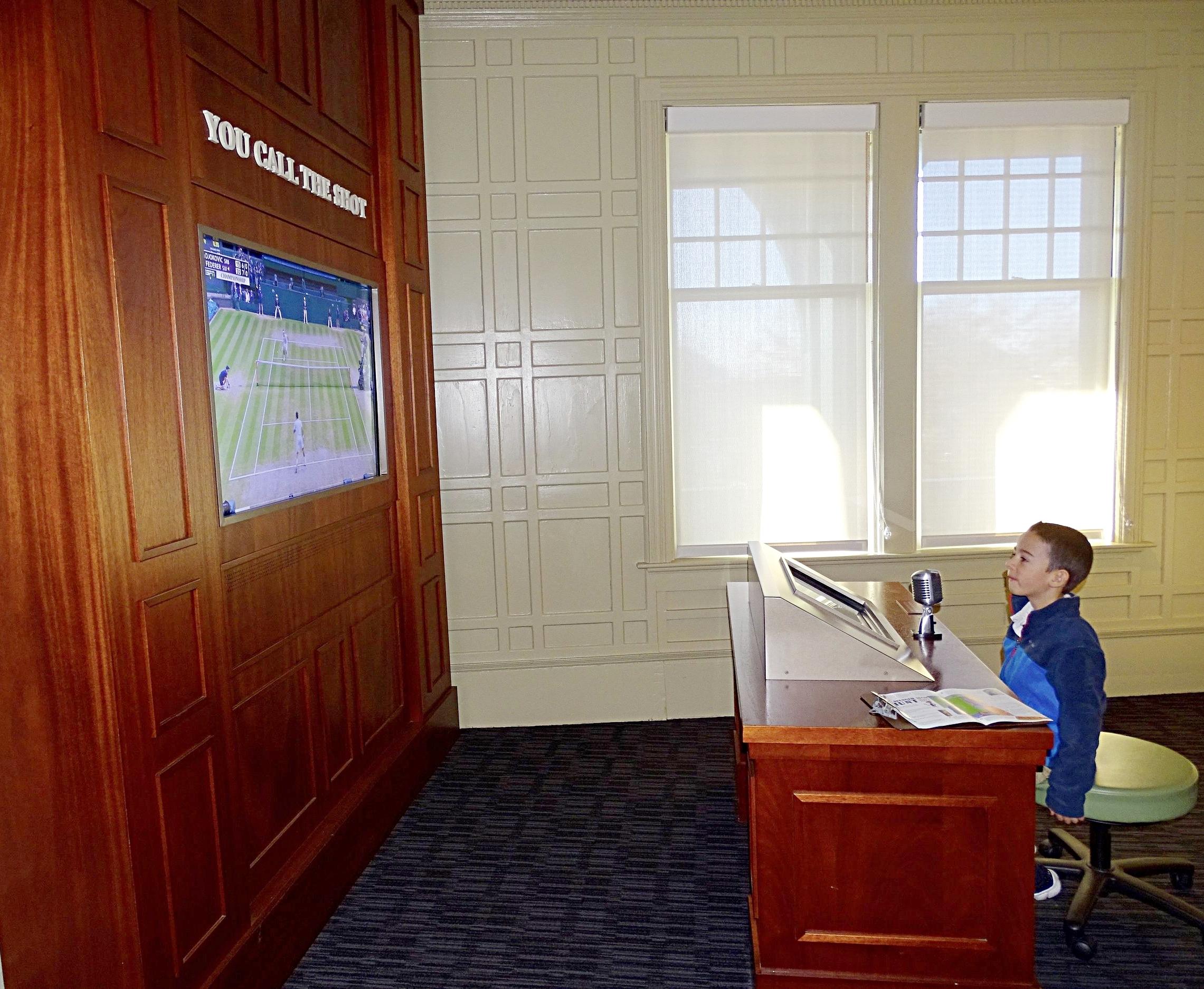 My son, channeling his inner Pat McEnroe broadcasting skills.