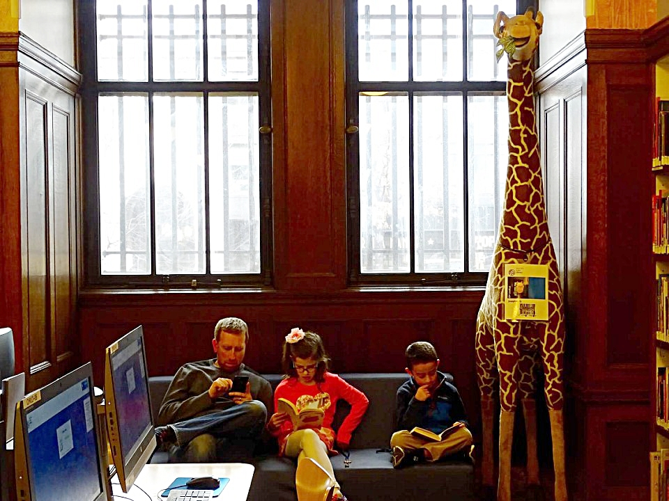 Hanging out in the children's room at the New York Public Library
