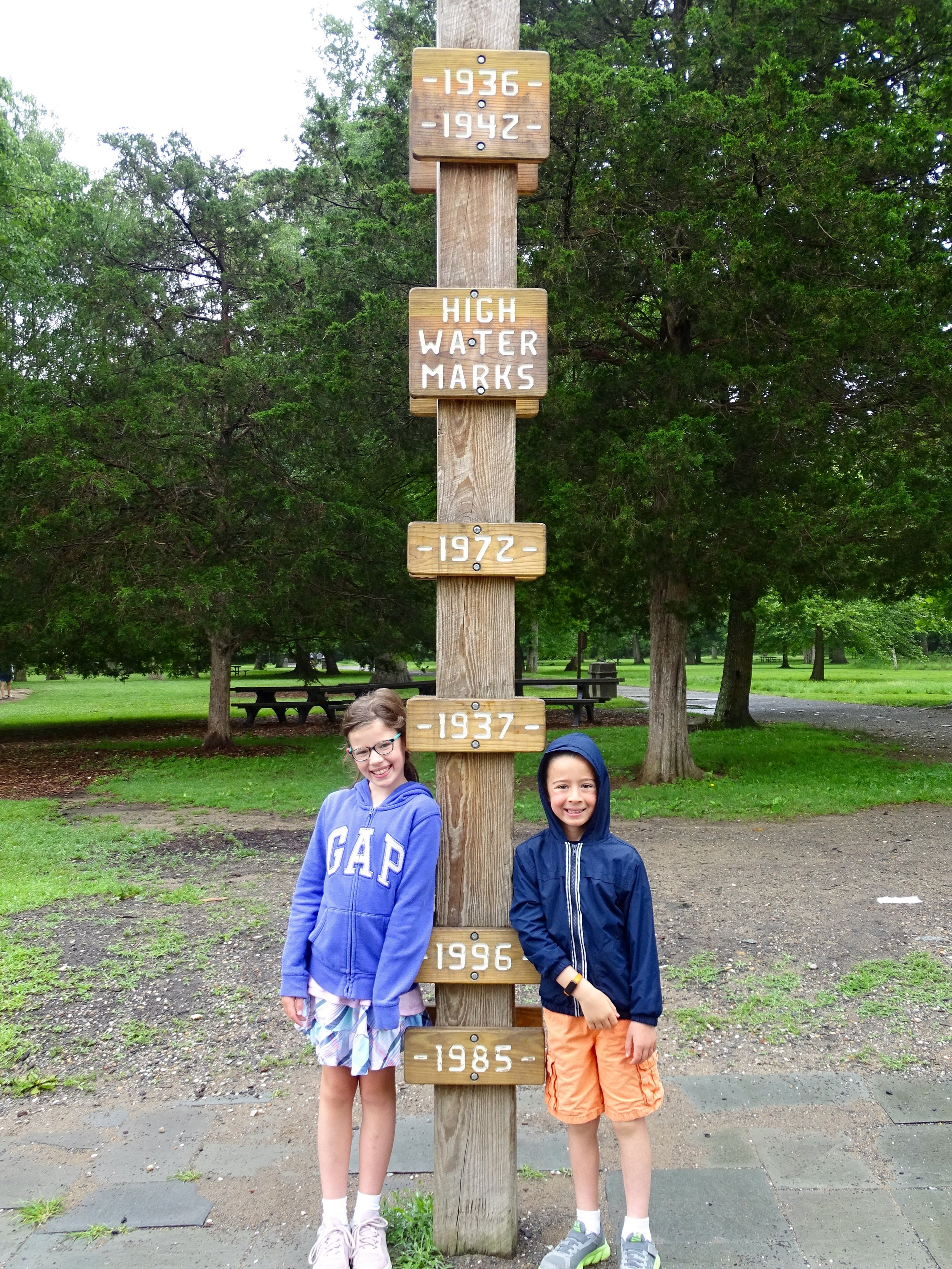 Measuring up against the flood markers- check out 1936!